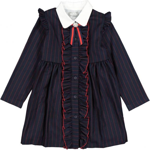 Girls Navy Stripe Frill Dress