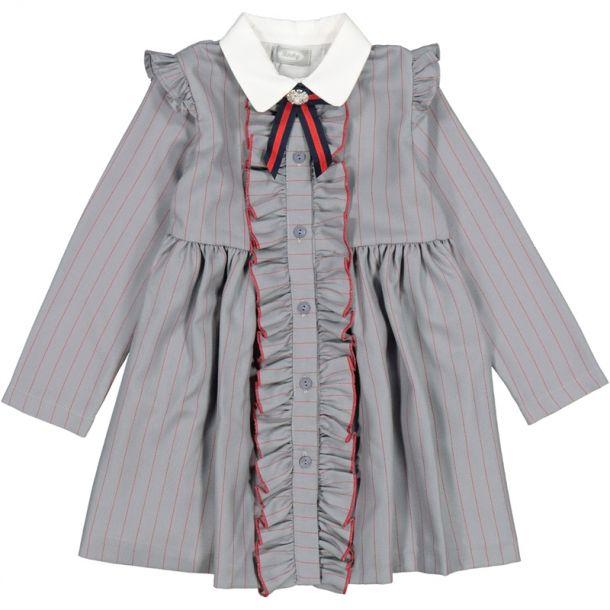 Girls Grey Stripe Frill Dress