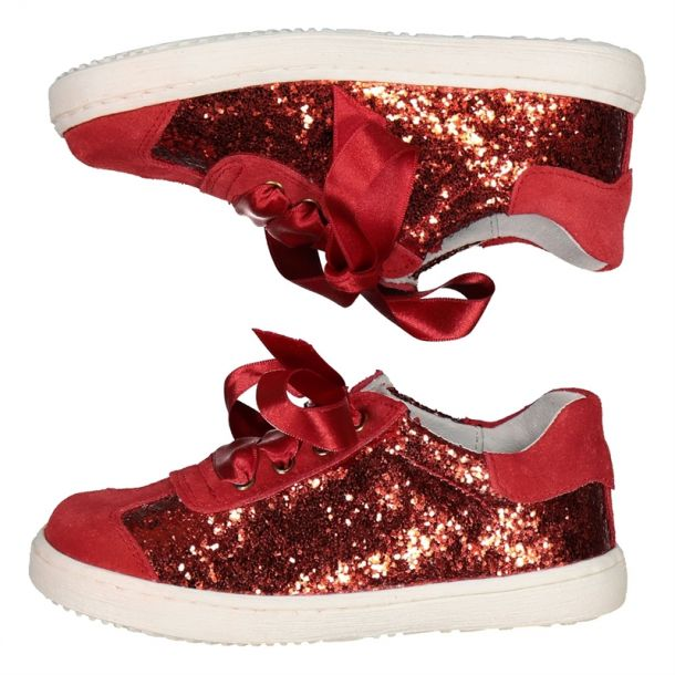 Girls Red Glitter Sneaker