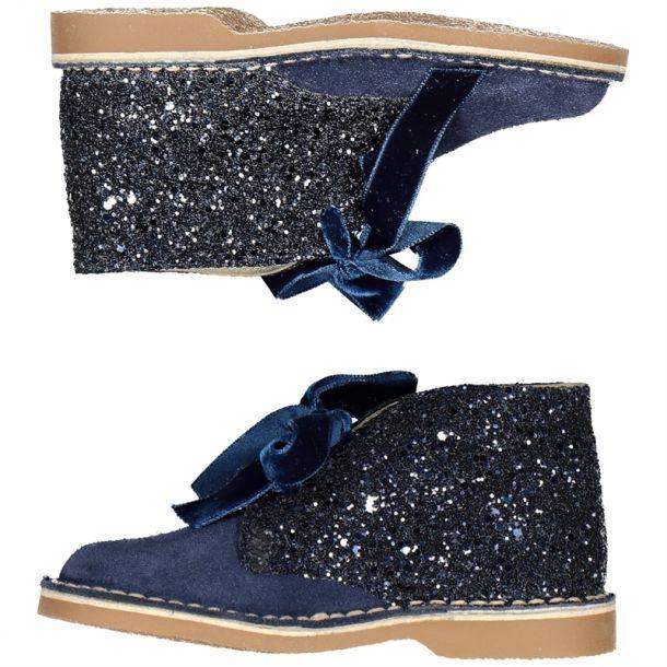Girls Navy Glitter Desert Boot