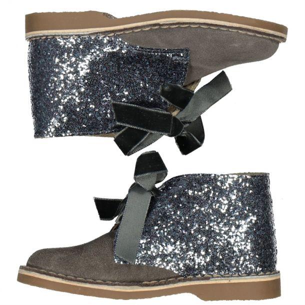 Girls Grey Glitter Desert Boot