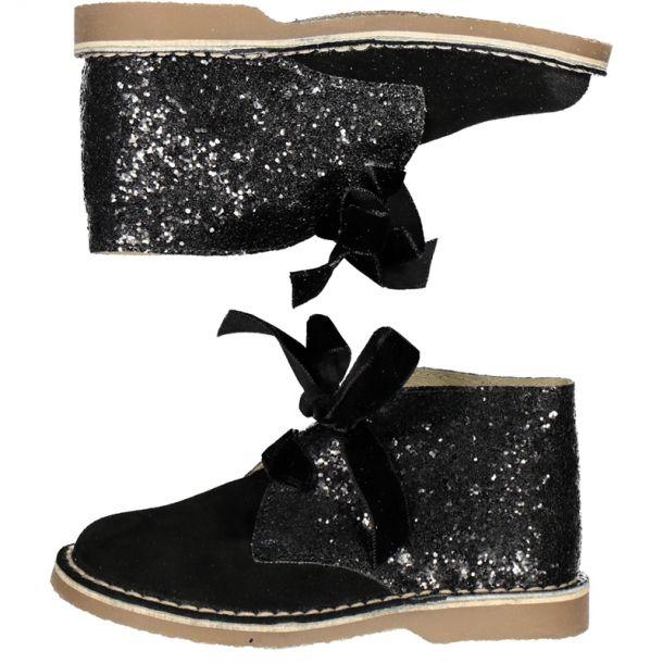Girl Black Glitter Desert Boot