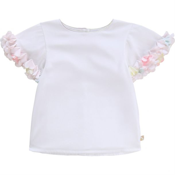 Girls White Flower Trim Top