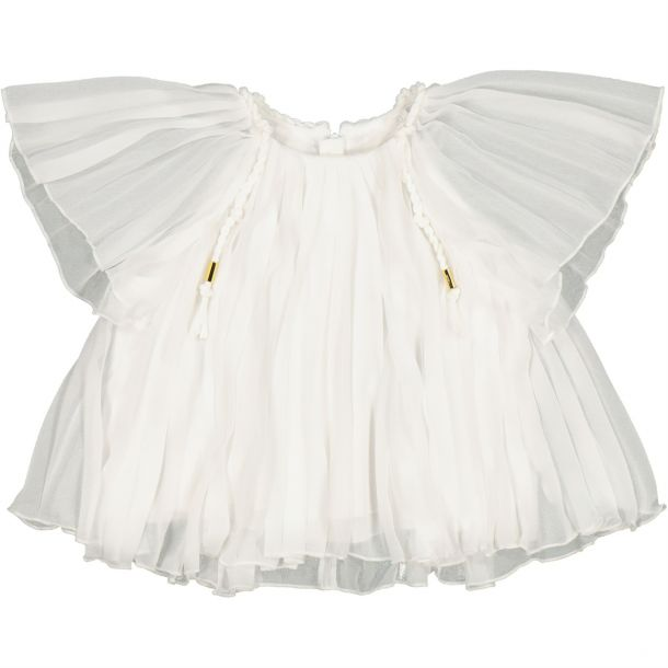 Girls Ivory Pleated Top