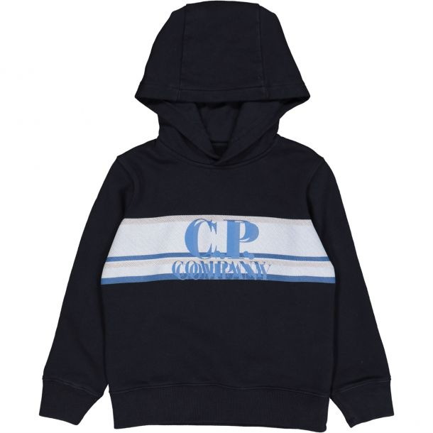 Boys Navy Branded Hooded Sweat
