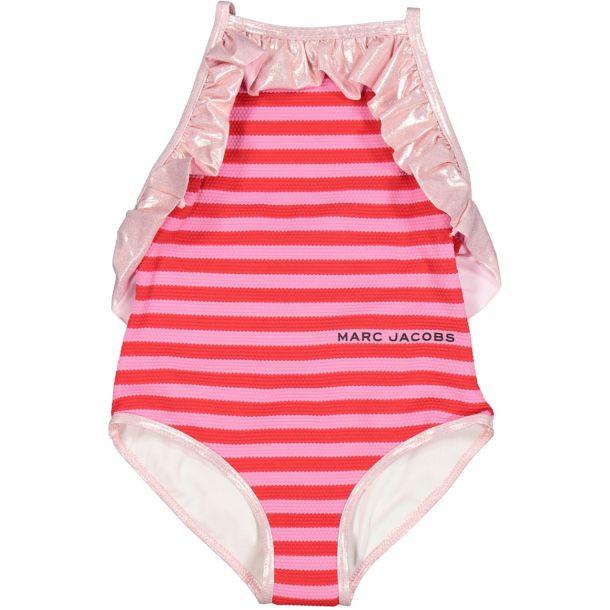 Girls Stripe Metallic Swimsuit