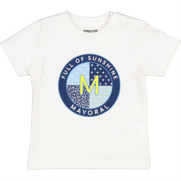 Baby Boys White Cotton T-shirt