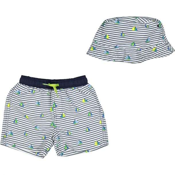 Baby Boys Navy Hat Swim Shorts