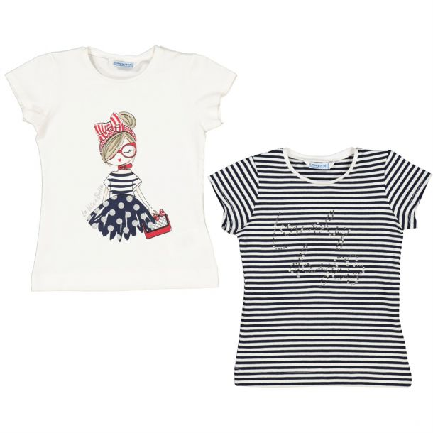 Girls Navy Pack Of 2 T-shirts