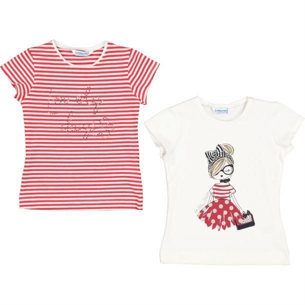 Girls Red Pack Of 2 T-shirts