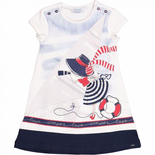 Girls Navy Jersey Dress