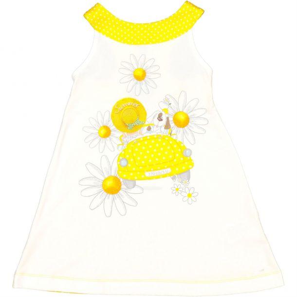Girls Yellow Daisy Print Dress