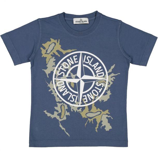 Boys Blue Camo Compass T-shirt