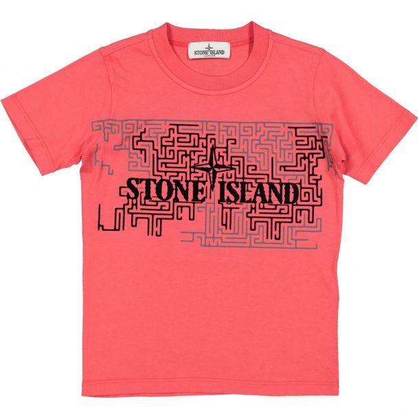 Boys Red Maze Print T-shirt