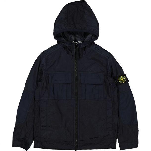 Boys Navy Hooded Nylon Jacket