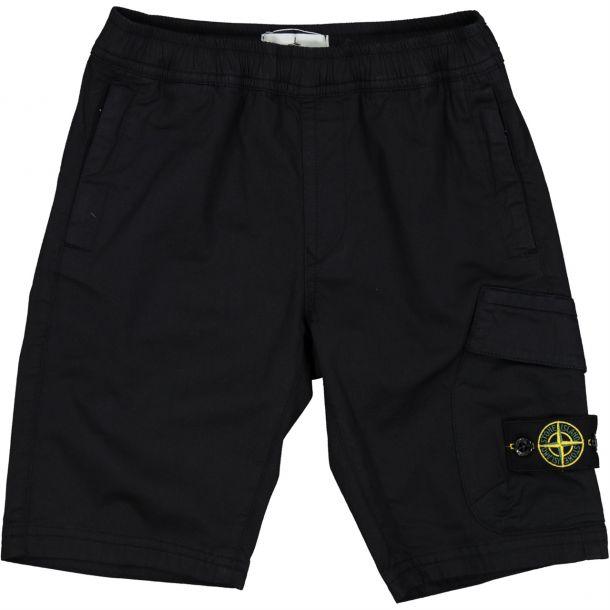 Boys Navy Cotton Badge Shorts.