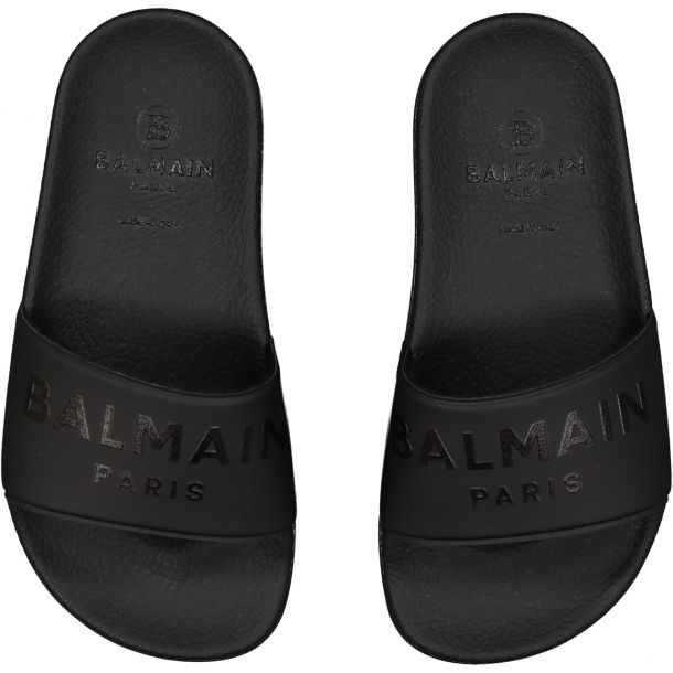 Girls Black Branded Slides