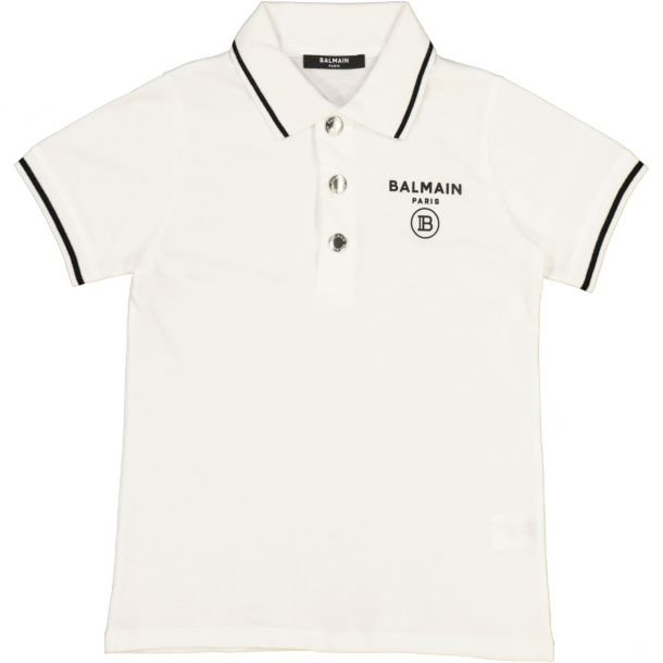 Boys White Branded Polo Top