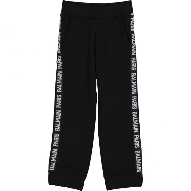Boys Black Tape Track Pants