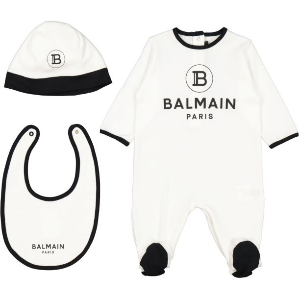Baby White Romper Hat Bib Set