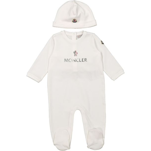 Baby White Romper And Hat Set