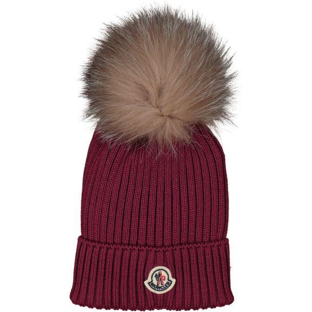 Moncler Pom Pom Rasberry Beanie Hat