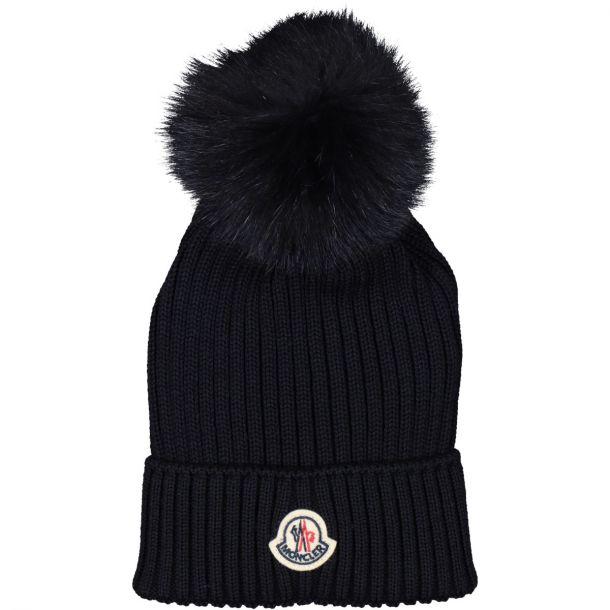 Moncler Navy Blue Pom Pom Beanie Hat