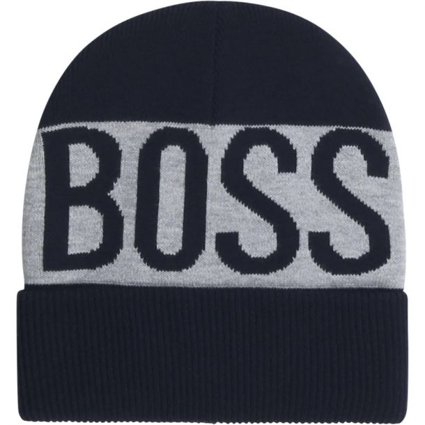 Boys Boss Navy Logo Beanie