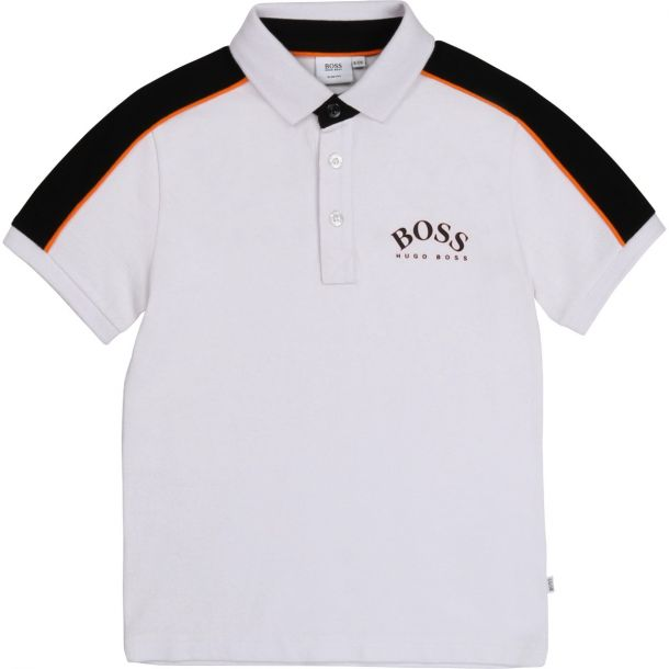 Boys White Cotton Polo Top