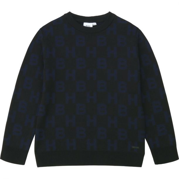Boys Black Logo Sweater