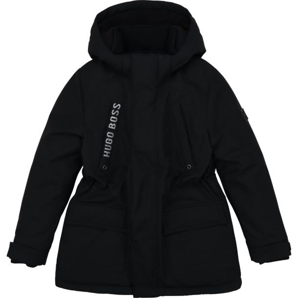 Boys Black Hooded Parka