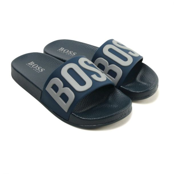 Boys Boss Navy Slides Junior