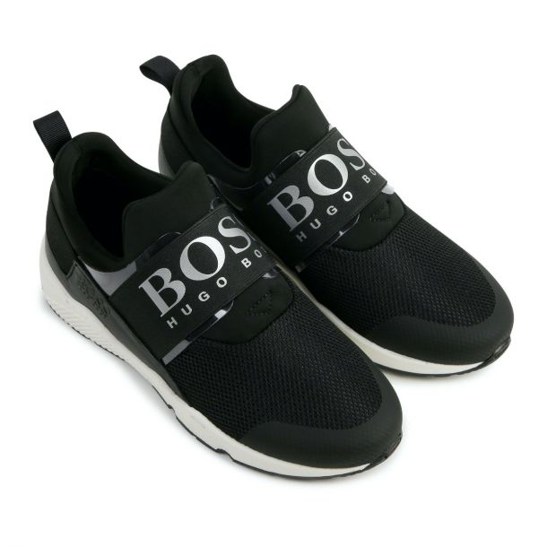 Boys Black Branded Trainer