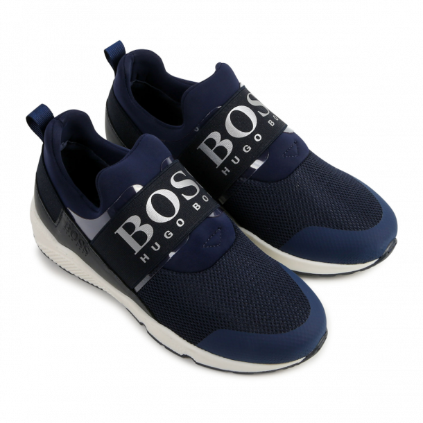 Boys Navy Branded Trainer