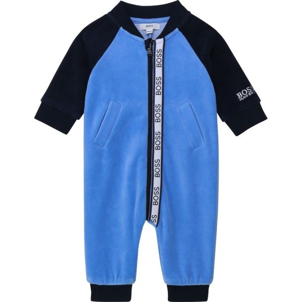 Baby Boys Blue Velour Romper
