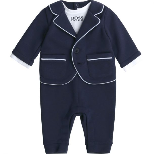 Baby Boys Navy Suit Romper