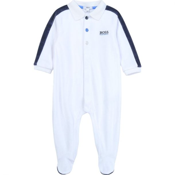Baby Boys White Velour Romper
