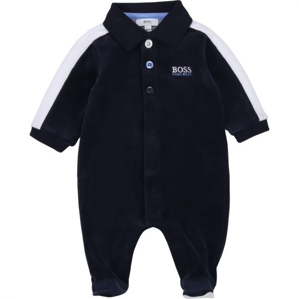 Baby Boys Navy Velour Romper