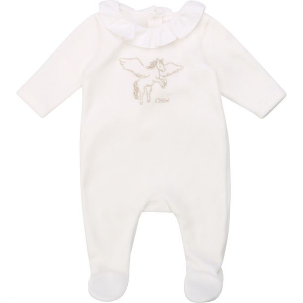 Baby Girls Chloe White Velour Romper