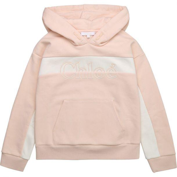 Girls Pink & White Logo Hoodie