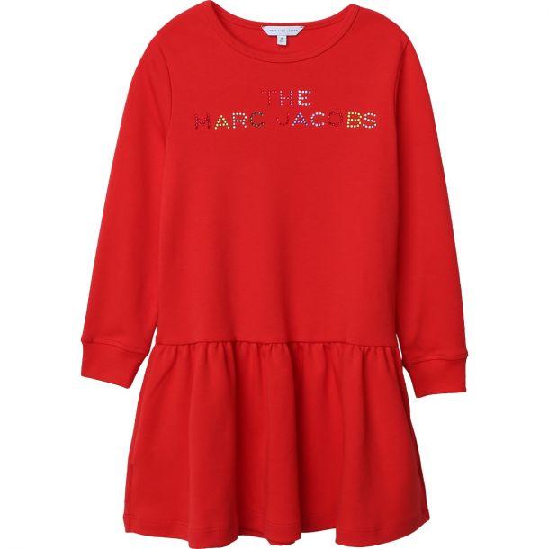 Girls Red Jersey Logo Dress