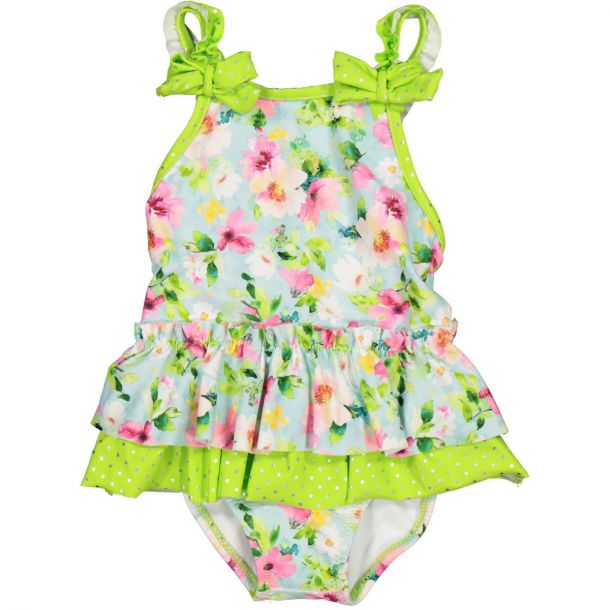 Girls Green Floral Swimsuit