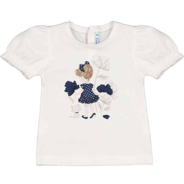 Girls White Printed T-shirt