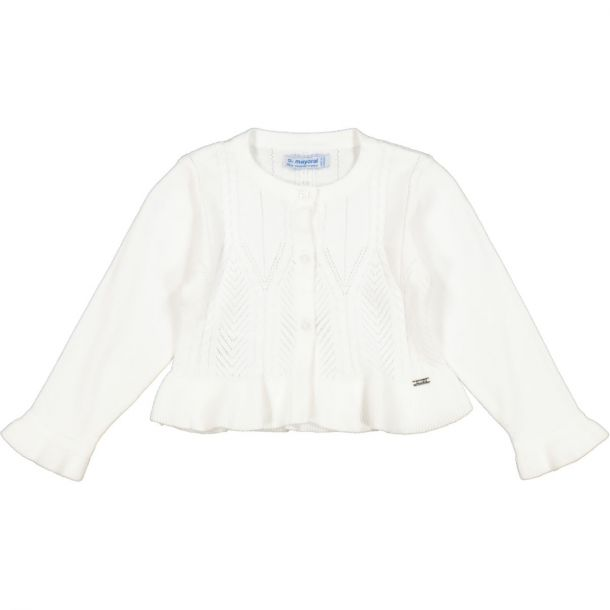 Girls White Knit Cardigan
