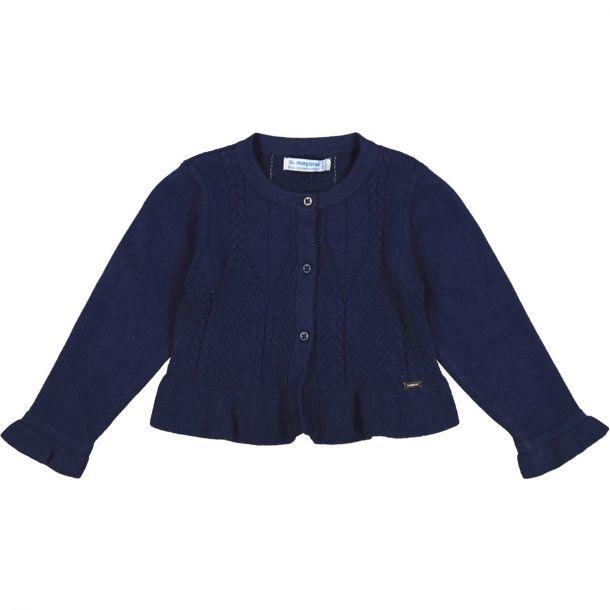 Girls Navy Knit Cardigan