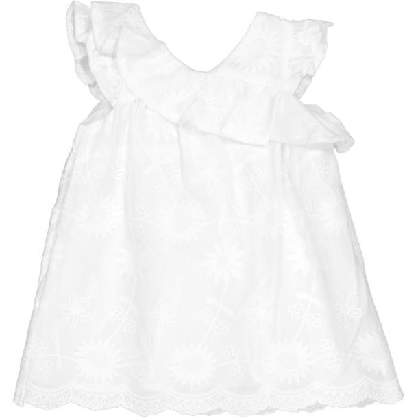 Girls White Embroidered Dress
