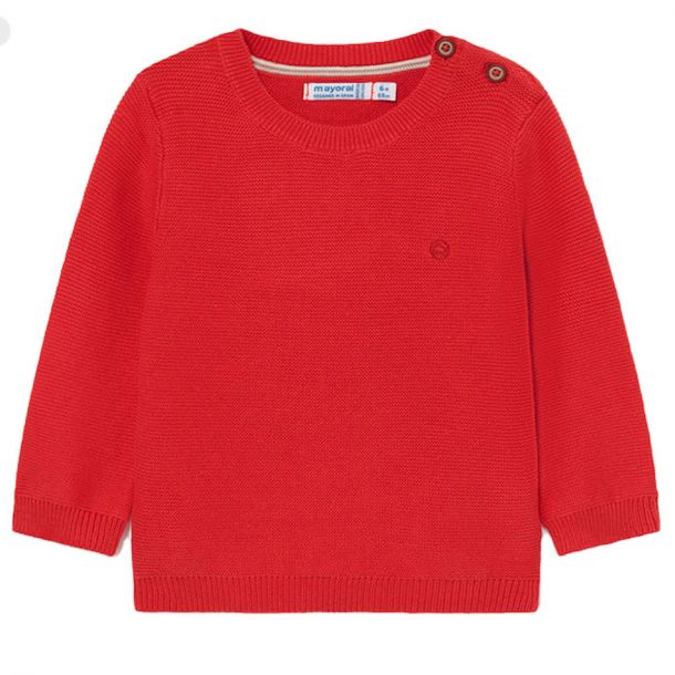 Baby Boys Red Cotton Knit