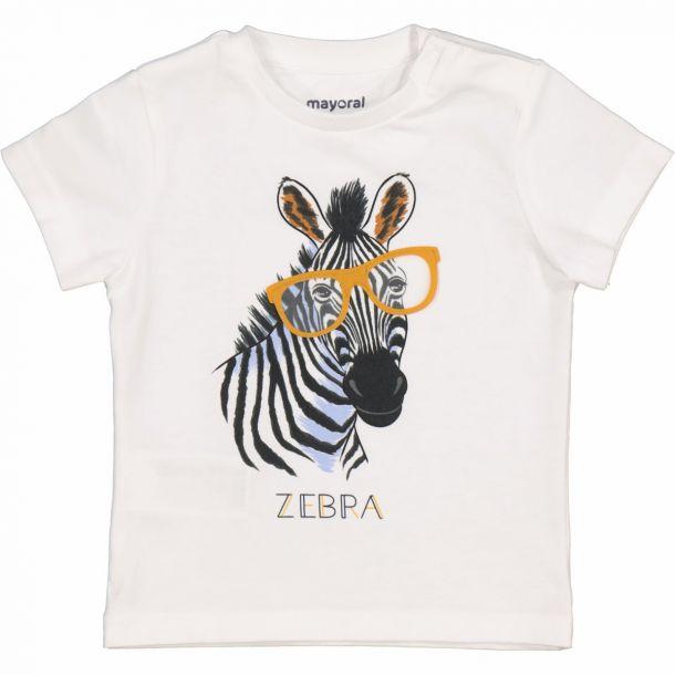 Boys White Zebra T-shirt