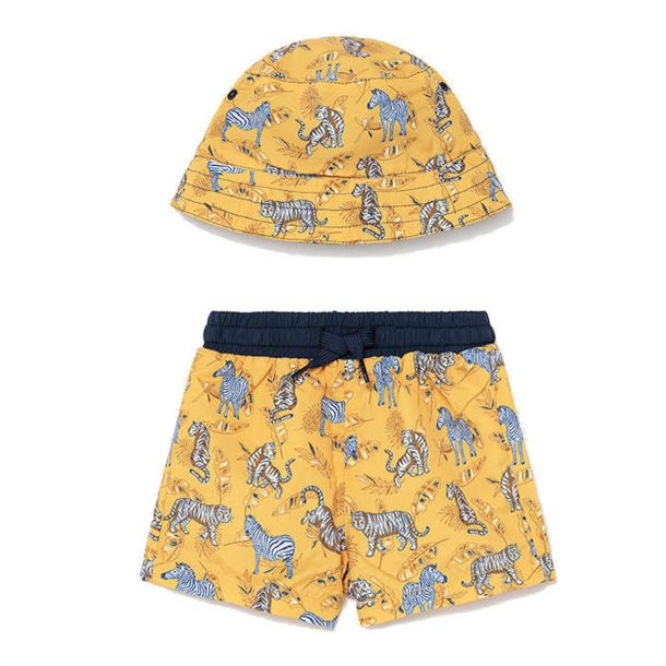 Boys Yellow Swim Shorts & Hat