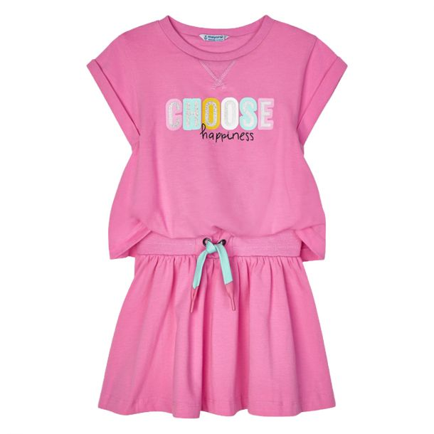 Girls Pink Cotton Jersey Dress